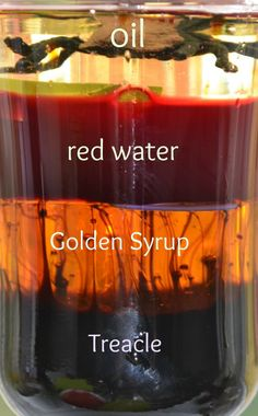 Density experiment, science for kids