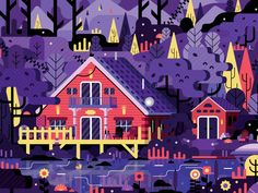 Cottage Life Look and Find designed by Johnathan Taylor. Connect with them on Dribbble; Landscape Illustration, Flat Illustration, Map Illustrations, Maps Design, Design Design, Graphic Design, Motion Design, School For Good And Evil, Vector Game