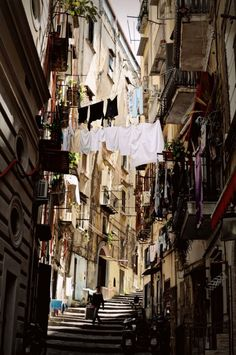 naples-italy:  Street and stairs in the historical center of Naples By linobag