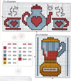 (^_^) Free download - tea set and blender. Our Cross Stitch!