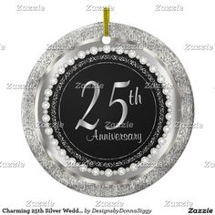 Charming #25th Silver Wedding #Anniversary #zazzle #ornament #gifts #shopping