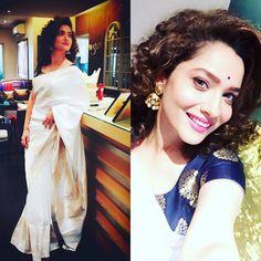 Ankita Lokhande Introduction: Ankita Lokhande is an Indian actress, model and dancer. Sari Blouse, Saree Blouse Designs, Blouse Styles, Chiffon Saree, Silk Sarees, Kerala Saree, Indian Sarees, Madhuri Dixit, Jacqueline Fernandez