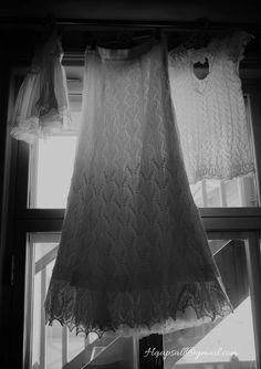 Hand knitted weeding dress, top and skirt, knitted by Ivika Viljasaar