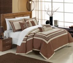 Chic Home Venice 7 Piece Cotton Comforter Set Hotel Collection Embroidery Design Bedding Taupe Bed Sets, Elegant Home Decor, Elegant Homes, Queen Comforter Sets, Bedding Sets, Embroidered Bedding, Cotton Bedding, Natural Bedding, Bed In A Bag