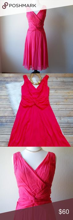 """TADASHI SHOJI Cocktail Dress Stunning hot pink cocktail dress. Float and delicate. Ruched and knotted details on the front and back. 100% silk. Lining is 100% polyester. A couple of tiny snags on the front. Dress will be pressed before shipping out. Shoulder to hem is appx 42"""". Armpit 17"""". Empire waist 14"""".   Instagram: @bringingupsuns Tadashi Shoji Dresses Midi"""