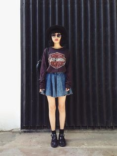 grunge, edgy, denim, skater skirt, skirt, boots, black, plum, sweater, sweatshirt, hat, fall