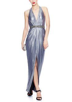 AIDAN MATTOX Foiled Jersey Halter Gown