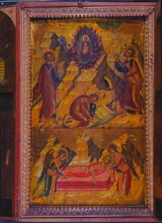 Moses before the Virgin in the Burning Bush and Burial of Saint Catherine Religious Icons, Religious Art, Vatican Library, Burning Bush, Byzantine Art, Christian Art, Ikon, Saints, Religion