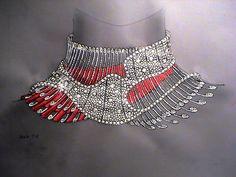 Original hand-drawn blueprint of Bel Canto diamond necklace by © Reena Ahluwalia
