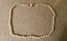 VTG FAUX PEARL NECKLACE CHOKER FAUX PEARL ACCENT PUSH CLASP