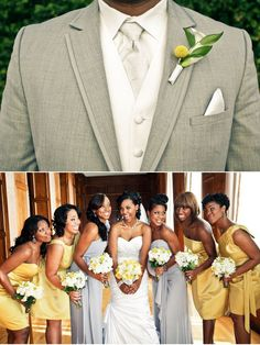 Love his suit, not digging the yellow flower http://beautifulbrownbride.blogspot.com/