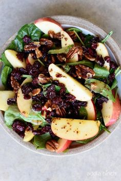 This Apple Cranberry Spinach Salad recipe is loaded with crisp apples, crunchy pecans or walnuts, and sweet cranberries and topped with a delicious apple cider vinaigrette dressing that is simply amazing! The perfect fall salad! The weather has been absolutely beautiful the last couple of days and reminds me of why this is my favorite...