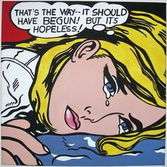 litchenstein | POP ART - Roy Lichtenstein - Hopeless (acrilico su tela 50x50) ~ ARTI'