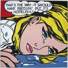 litchenstein   POP ART - Roy Lichtenstein - Hopeless (acrilico su tela 50x50) ~ ARTI'