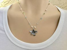 Orchid Sterling Silver Multi Stone Pendant Necklace Orchid