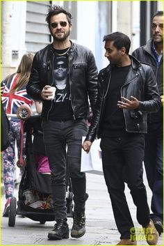 Justin Theroux & Aziz Ansari Match in Leather Jackets in Paris!: Photo Justin Theroux and Aziz Ansari take a stroll around town together on Thursday (April in Paris, France. The guys matched in leather jackets while enjoying… Cafe Racer Leather Jacket, Leather Jacket Outfits, Leather Jackets, Saint Laurent Sneakers, Saint Laurent Shirt, Balenciaga Jacket, Givenchy Shirt, Vetements Hoodie, Tom Ford Jacket