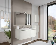 Cielo 100 cm wide set made of base furniture with 1 drawer and 1 door, ceramic washbasin, panoramic mirror with LED lamp, and 2 cube-type cabinets, presented in mate white finish. White Bathroom Furniture, All White Bathroom, Lampe Led, Led Lamp, Large Bathrooms, Drawers, Doors, Mirror, Cabinets