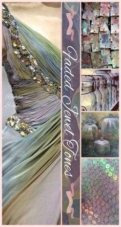 Faded jewel tones '' by reyhan s. color schemes цветовые с Living Colors, Mood Colors, Paint Color Schemes, Paint Colors, Color Trends, Color Combos, Collages, Color Collage, Colour Board