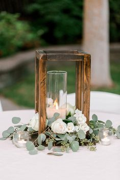 Lantern Centerpiece Wedding, Outdoor Wedding Decorations, Rustic Wedding Centerpieces, Outdoor Wedding Venues, Rustic Decor Wedding, Woods Wedding Ideas, September Wedding Centerpieces, Lantern Wedding Centerpieces, Wooden Centerpieces