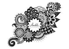 Flores ornamentales con espacio de copia de su texto para colorear libro, tatuaje y otras decoraciones — Stock Illustration #102413366