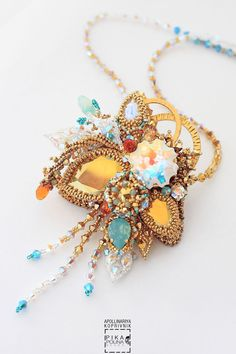 """Купить Кулон """"Цветок осени"""" - золотой, ассиметричный кулон, ассиметрия, цветочный кулон, цветы"""