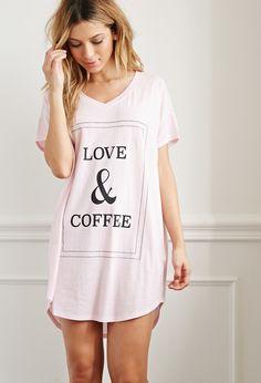 Love and Coffee Nightdress - Intimates & Lounge - Pajamas & Robes - 2000172845 - Forever 21 UK Lingerie Sleepwear, Nightwear, Sleepwear Women, Pijamas Women, Womens Pyjama Sets, Cute Pajamas, Trendy Swimwear, Latest Fashion For Women, Night Gown