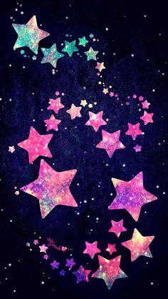 By Artist Unknown. Cute Galaxy Wallpaper, Samsung Galaxy Wallpaper, Star Wallpaper, More Wallpaper, Tumblr Wallpaper, Wallpaper Ideas, Pretty Backgrounds, Wallpaper Backgrounds, Pink And Green Wallpaper