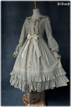 Pale grey ruffles and lace classic lolita op dress