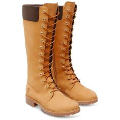 """Women's Timberland 14"""" Side Zip Waterproof Lace-up Boots (245 CAD) ❤ liked on Polyvore featuring shoes, boots, shearling-lined boots, lined rubber boots, laced up boots, lace up shoes and lace up boots"""