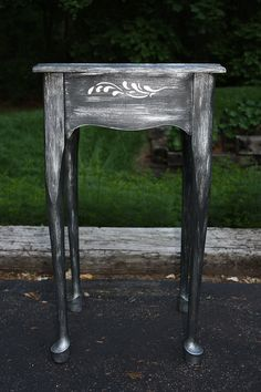 Classic accent table painted with Graphite Chalk paint and Pearl Plaster accents, $85.00
