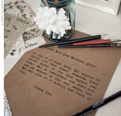 I had this idea over a year ago, this is my favorite idea I've had for the wedding. I like this wording of the instruction card. Quilt Guest Book