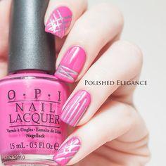 Hot Pink! nail art by Lisa