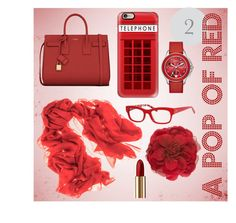 """""""Red #2"""" by billandnancy on Polyvore featuring Yves Saint Laurent, Lancôme, Casetify, Black, Gucci, Michele and Kate Spade"""