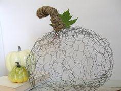 50 different pumpkin crafts on this post - this one, a chicken wire pumpkin.