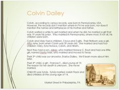 Dailey Family Tree - page 7  Colvin Dailey Marriage & Children