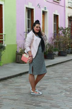 Plus size sporty chic outfit x knit dress / pink perfecto  http://anaispenelope.blogspot.fr/2015/12/rue-cremieux.html