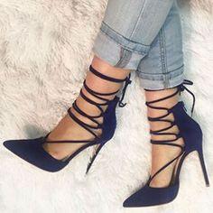 Shoespie Elegant Royal Blue Lace Up Stiletto Heels