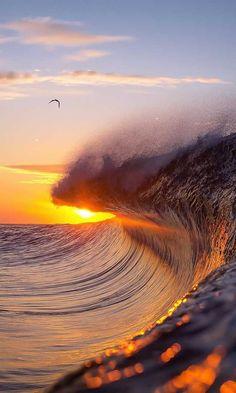 Ocean wave at sunrise Ocean Pictures, Nature Pictures, Beautiful Nature Wallpaper, Beautiful Landscapes, Image Nature, Beach Wallpaper, Landscape Wallpaper, Ocean Photography, Beautiful Sunrise