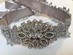 Bridal Sash Wedding Sash Silver Leaf Sash by Madelinelittleboutiq