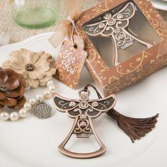 Antique copper angel bottle opener Favor. Religious Favor, Baptismal, Communion, Christening.
