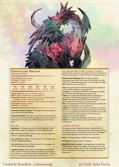 DnD Homebrew — Witcher Monsters by Regerem Dnd Dragons, Dungeons And Dragons 5e, Dungeons And Dragons Homebrew, Witcher Monsters, Dnd Monsters, Fantasy Creatures, Mythical Creatures, Dnd Stats, Crystal Dragon
