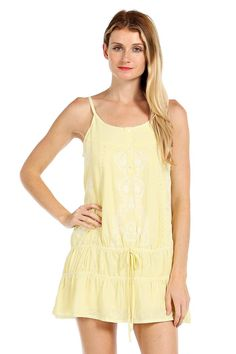 SOLID EMBROIDERED RUFFLE DROP WAIST DRESS-Yellow