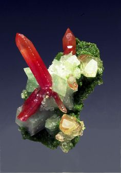 Cérusite (Red) With Bayldonite and calcite. ╰☆╮skymomma╰☆╮