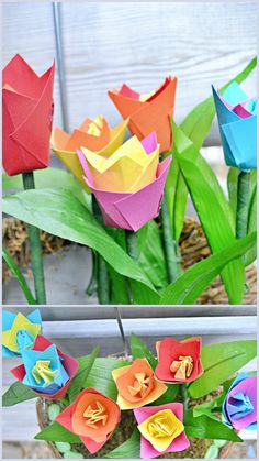 How to decorate with paper tulips for spring - Craftionary . Tulips Flowers, Flower Vases, Flower Pots, Paper Flowers, Floral Foam, Spring Activities, How To Make Paper, Hanging Baskets, Photo Displays