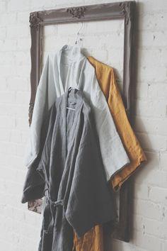 Linen Robes / Bath Robes Kimono Style Unisex by LostinLinen