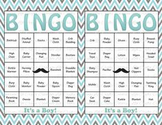 100 Baby Shower Bingo Cards -  Mustache Theme - DIY Printable Party for Boy - Instant Download - Aqua Gray Chevron B002 on Etsy, $9.00