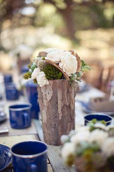 Unique Non-Floral Centerpieces | Bark-Covered Vase Rustic Wedding Centerpiece - Elizabeth Anne Designs ...