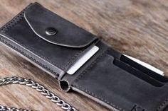 leather biker coin wallet
