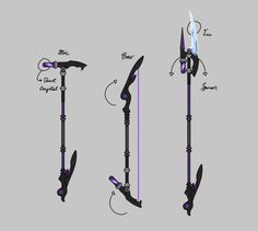 Sketch for a future Weapon Design for Viola. Mic/Magic Staff, Bow and Spear.