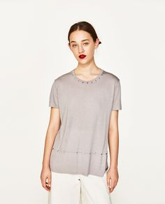 Image 2 of T-SHIRT WITH METALLIC DETAILS from Zara